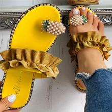 Women Slipper Pineapple Ring Toe Pearl Flat Casual Shoes Beach Sandals