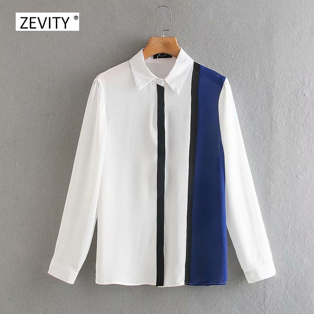 New 2020 women fashion color matching patchwork striped blouse office ladies long sleeve casual shirts chic chemise tops LS6719