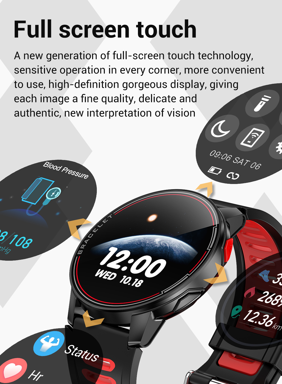 Hd99fe672fc0f48c3bc987ad9832170c4m 2020 New L6 Smart Watch IP68 Waterproof Sport Men Women Bluetooth Smartwatch Fitness Tracker Heart Rate Monitor For Android IOS