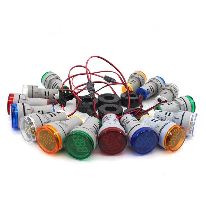 22mm AC Digital LED Display Voltmeter Ammeter Volt Voltage Ampere Current Frequency Meter Warning Indicator Signal Lights Tester