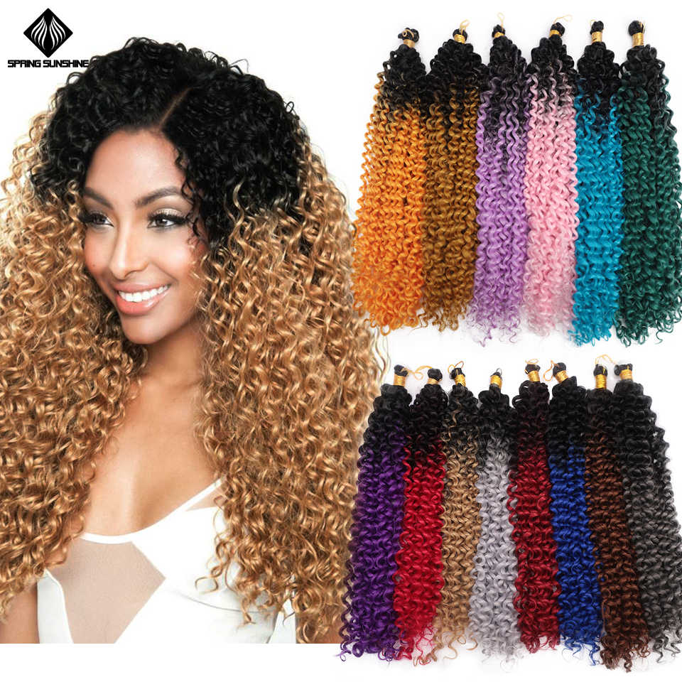 Springsunshine 14inch Afro Kinky Curly Synthetic Crochet Braids Water Wave Freetress Ombre Twist Braid Hair Extensions for Women