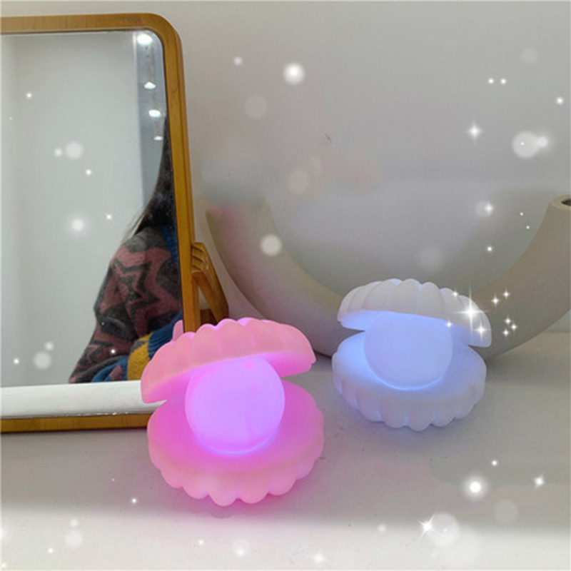 Ins Girl Heart Shaped Plastic Shell Lamp Pearl Fairy Night Light Room Bedside Home Decoration Birthday Gift
