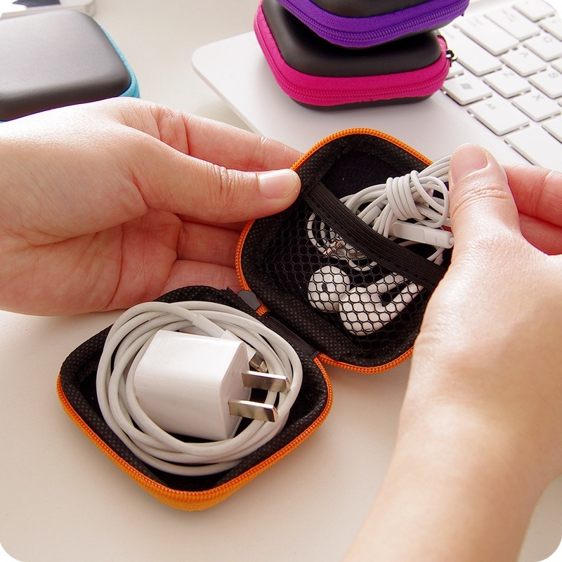 6Colors Portable Mini Case Headphones Zippered Round Storage Desk Organisers Escritorio USB Cable Bag Headset Box Marker Storage