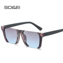 SO&EI Vintage Fashion Rimless Square Women Sunglasses Brand