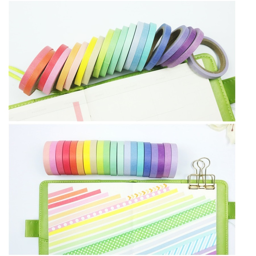 Stickers Masking Tape-Set Paper Diary-Book Lace Washi Rainbow-Color Adhesive 20pcs