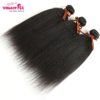 Kinky Straight Human Hair Weave Bundles Indian Hair Bundle Remy 3/4 Piece 10 28 inch Coarse Yaki Hair Weaving