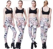Womens Skull Flower Printing Leggings Pants 2019 Maiden Girls Spandex Shiny Stretchy Leggings Skinny Footless Plus Size