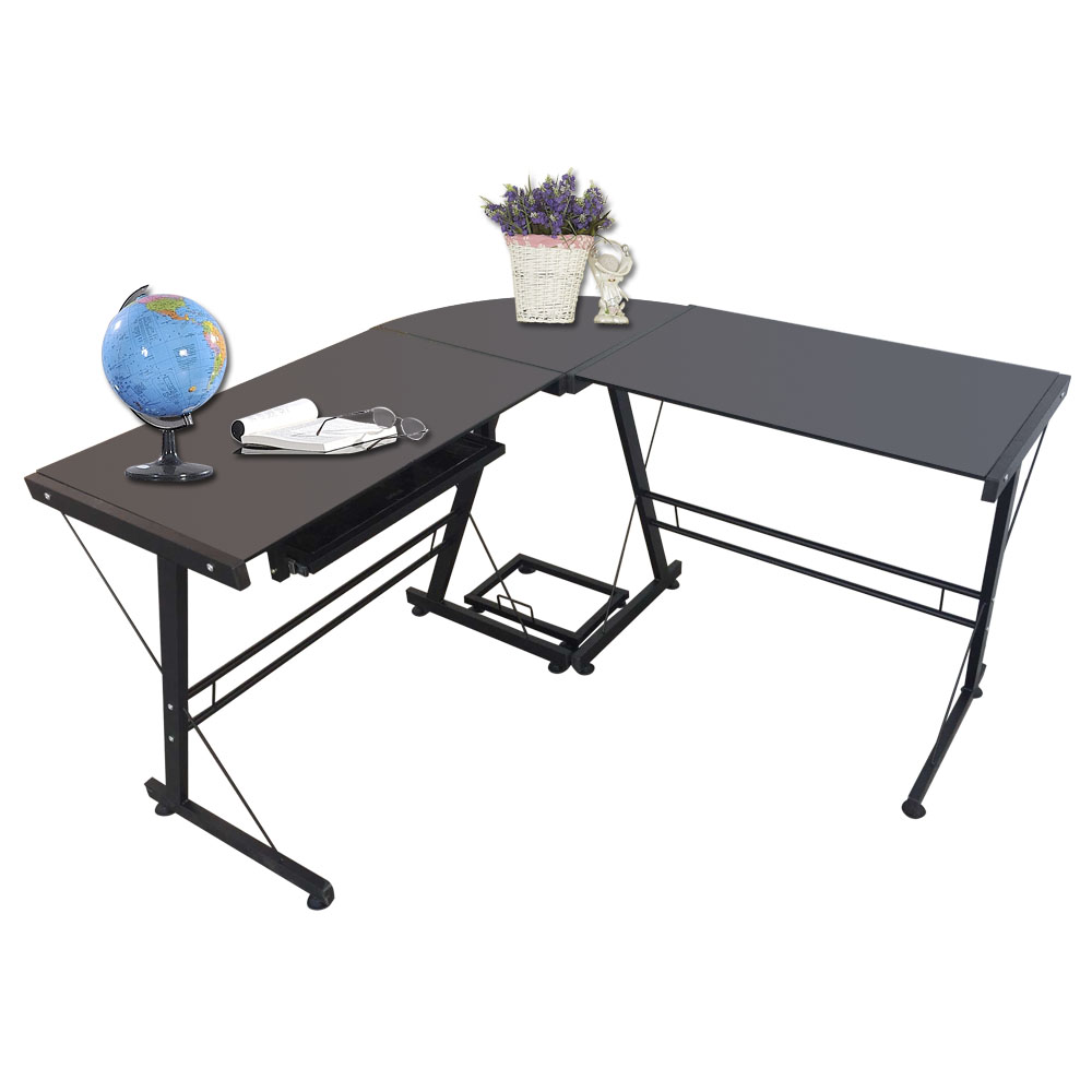 【US Warehouse】L-Shaped Durable Stalinite Splicing Computer Desk 402C Black(Computer Desk Table)