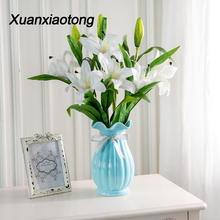 Xuanxiaotong White Real Touch Lily Flowers Latex 3 head Artificial Flower Bouquets for Home Table Centerpiece Decor Party flores