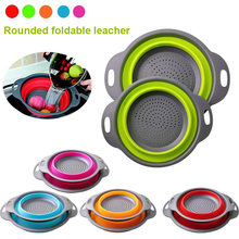 Multifunction Kitchen Collapsible Silicone Colander Fruit Vegetable Folding drain basket Space Saver Cesto di scarico pieghevole(China)