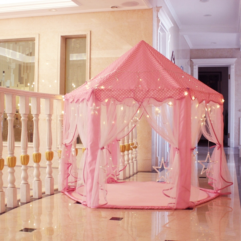 Children's Tent Play Tent Portable Children Princess Pink Castle Toy Ball Pool Girls Playhouse Kids Small House Folding Teepee