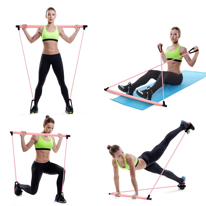 Image 4 - Pilates Exercise Stick Toning Bar Fitness Home Yoga Gym Body Workout Body Abdominal Resistance Bands Rope PullerIntegrated Fitness Equipments   -