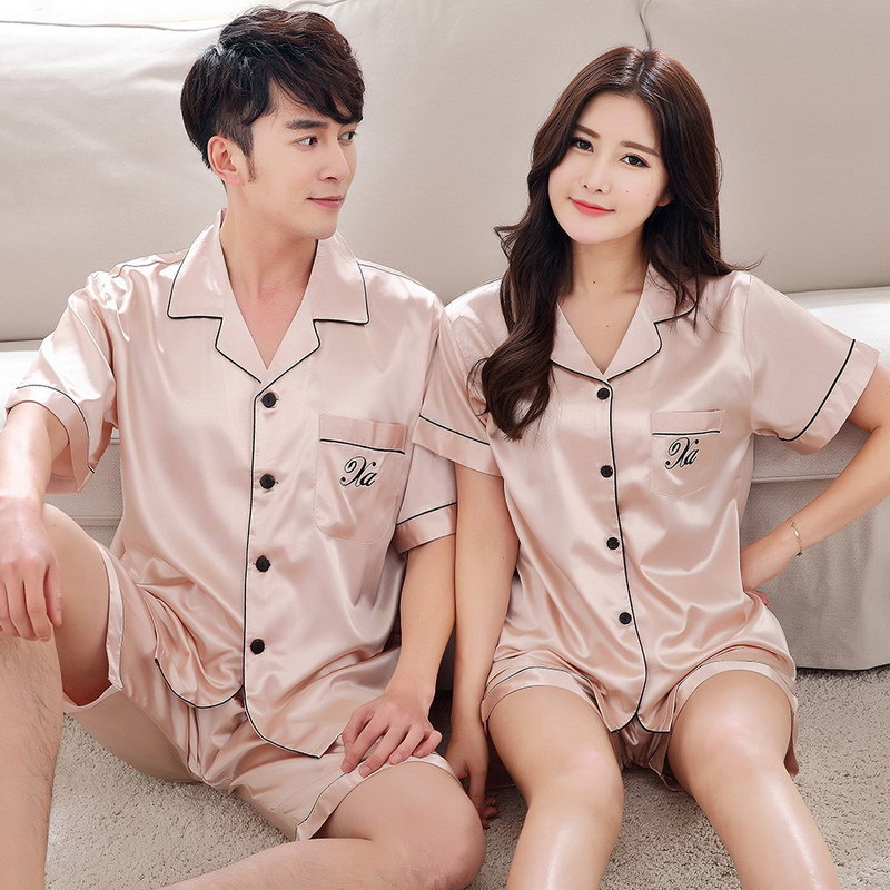 Summer Silk Couples Pajamas Set Short Sleeve Sleepwear Men And Women Loose Style Plain Home Suit Pjs Women