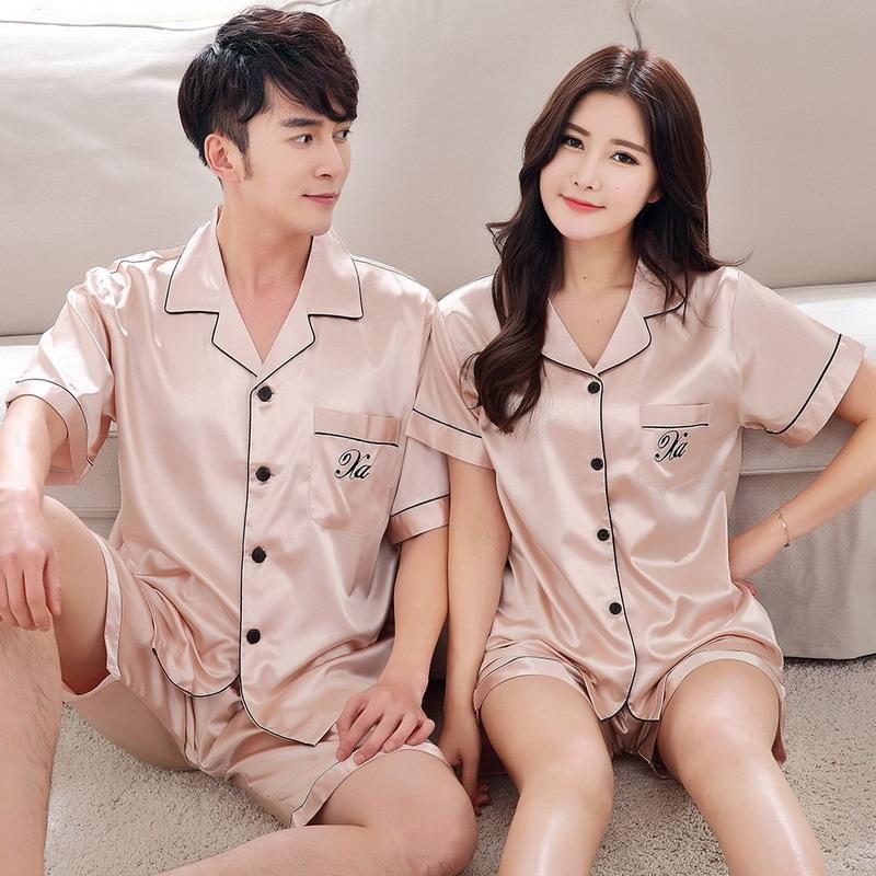 Summer Silk Couples Pajamas Set Short Sleeve Sleepwear Men And Women Loose Style Plain Home Suit Pjs Women
