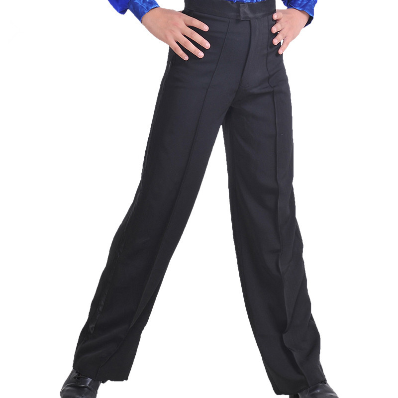 New Arrival Black Color Professional Mens Latin Dance Pants Spandex Boys Ballroom Dance Pants Stage Performance Pant