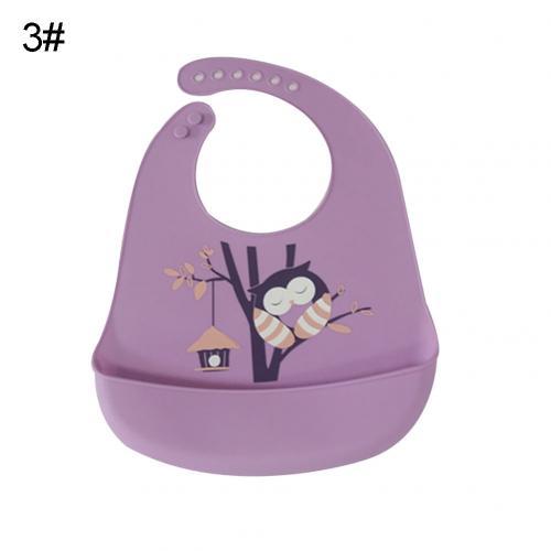 Водонепроницаемый Регулируемый нагрудник с животным принтом для малышей с карманом для кормления слюнявчик полотенце для еды аксессуар мягкий детский материал обеспечивает уход - Цвет: Purple Owl