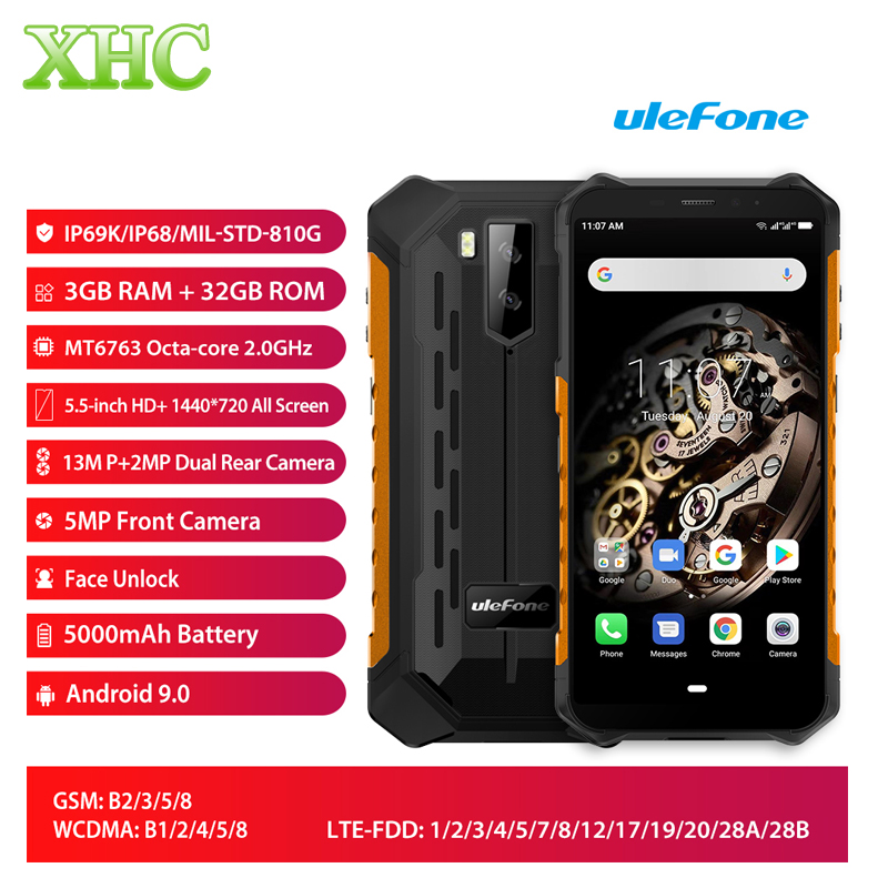 Ulefone Armor X5 Android 9.0 5.5inch Mobile Phone RAM 3GB ROM 32GB Bluetooth 5.0 Dual SIM Octa Core LTE 4G Smartphone NFC OTG
