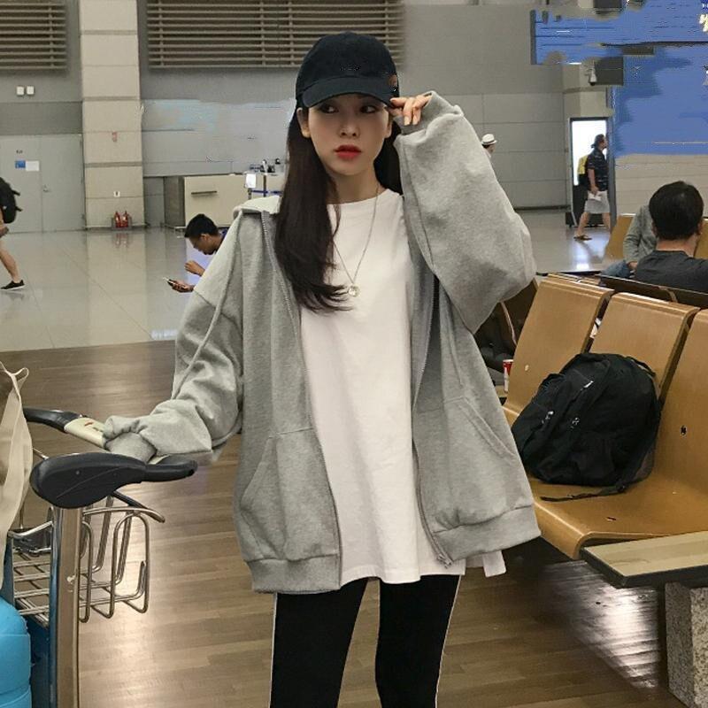 Kawaii Butterfly Zip Up Long Sleeve Summer Sweatshirts 2021 Spring Oversized Hoodies Women Cotton Black Streetwear GrayTops 6