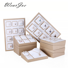 White PU Leather Ring Stud Earrings Display Holder Showcase Bangle Stand Tray Pendant Necklace Chain Set Jewelry Organizer Rack