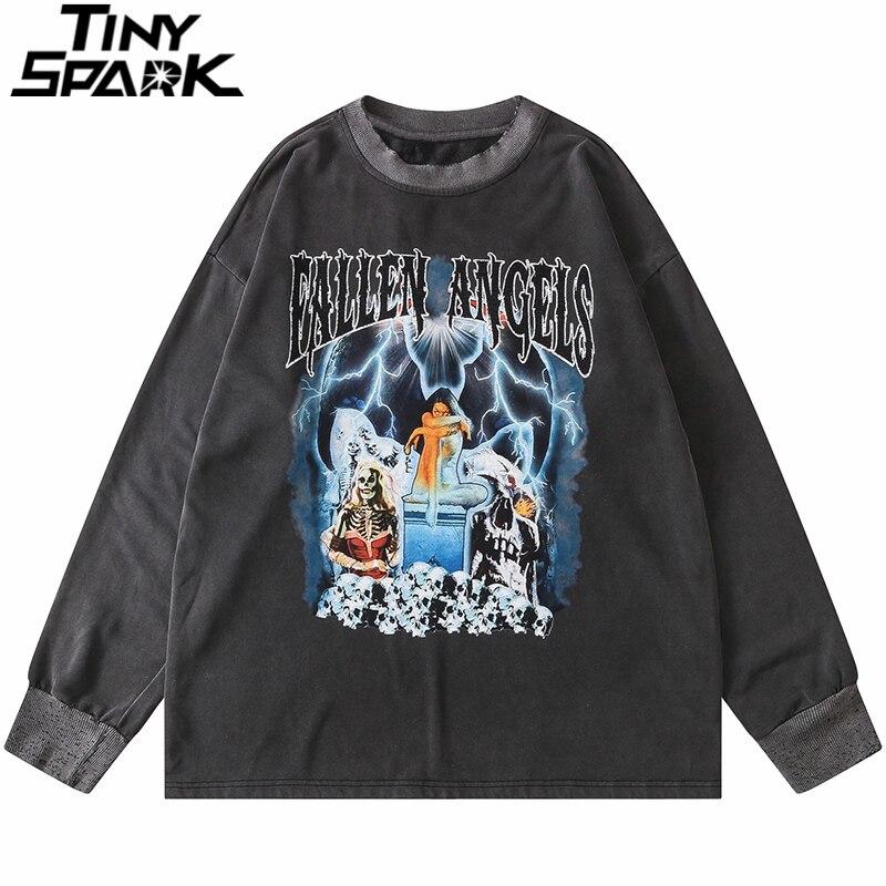 Хип-Хоп Ретро свитер пуловер 2020 Мужская Уличная Harajuku Скелет молния принт потертый Свитшот Хлопок Свободный пуловер