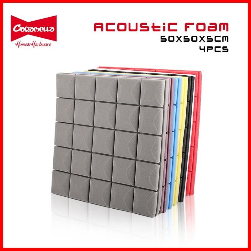 Independent 8 Colors 4pcs 50x50x5cm Studio Acoustic Foam Soundproof Foam Sound Absorption Treatment Panel Sound Wedge Protective Sponge