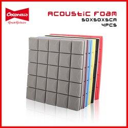 8 Colors 4PCS 50x50x5cm Studio Acoustic Foam Soundproof Foam Sound Absorption Treatment Panel Sound Wedge Protective Sponge