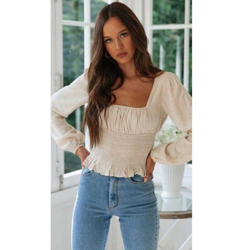 Fashion Summer Beach Women Slim Long Sleeve T-Shirt Formal Tops Pleated Waist Hem Ruffles Square Collar Tops