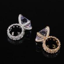 Hip Hop griffe réglage grand CZ pierre Bling glace sur géométrique carré hommes bagues femmes mode bijoux cadeau livraison directe