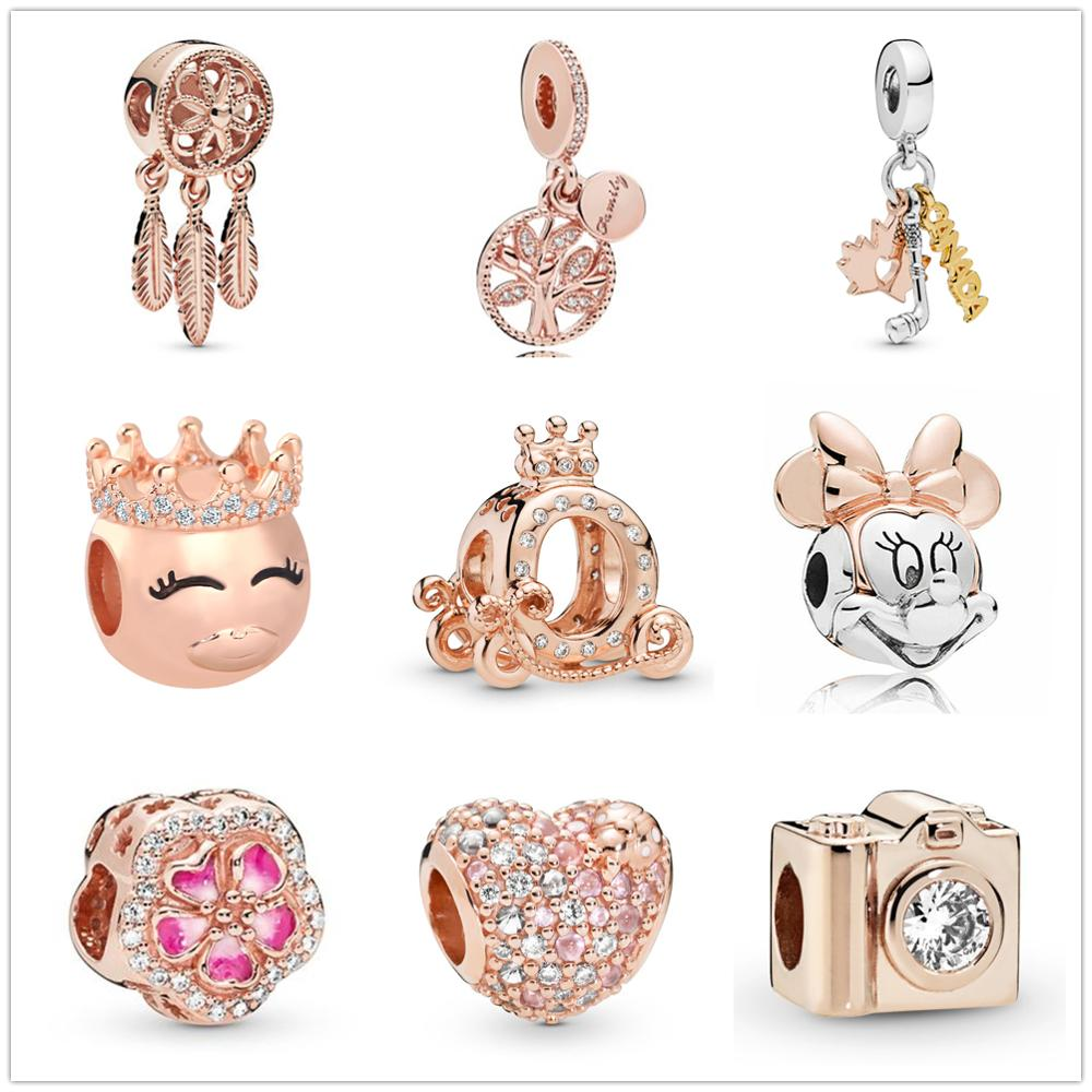 Silver 925 rose gold crystal Charms diy Dream catcher Crown Minnie Beads Fit Original pandora Bracelet pendant Jewelry making(China)