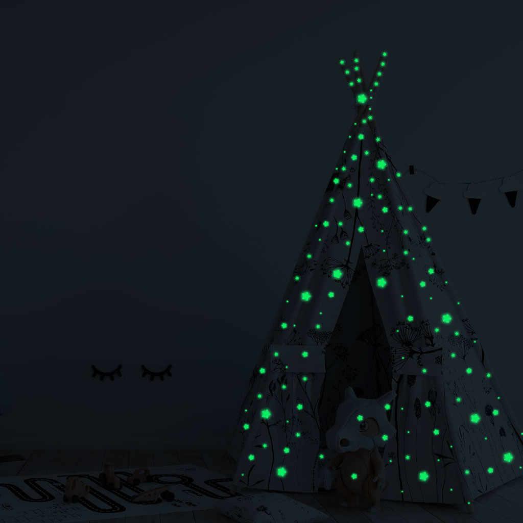 3D כוכבים זוהר בחושך הזוהר פלורסנט מדבקות קיר חדר Decors 127Pcs זוהר כוכבים ניאון מדבקות בית