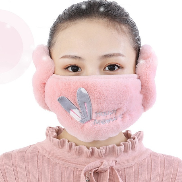 2 In 1 Rabbit Ear Earmuffs Kids Mouth Mask Windproof Mouth-Muffle Anti Dust Winter Children Anti Haze Flu Cotton Face Cover 3