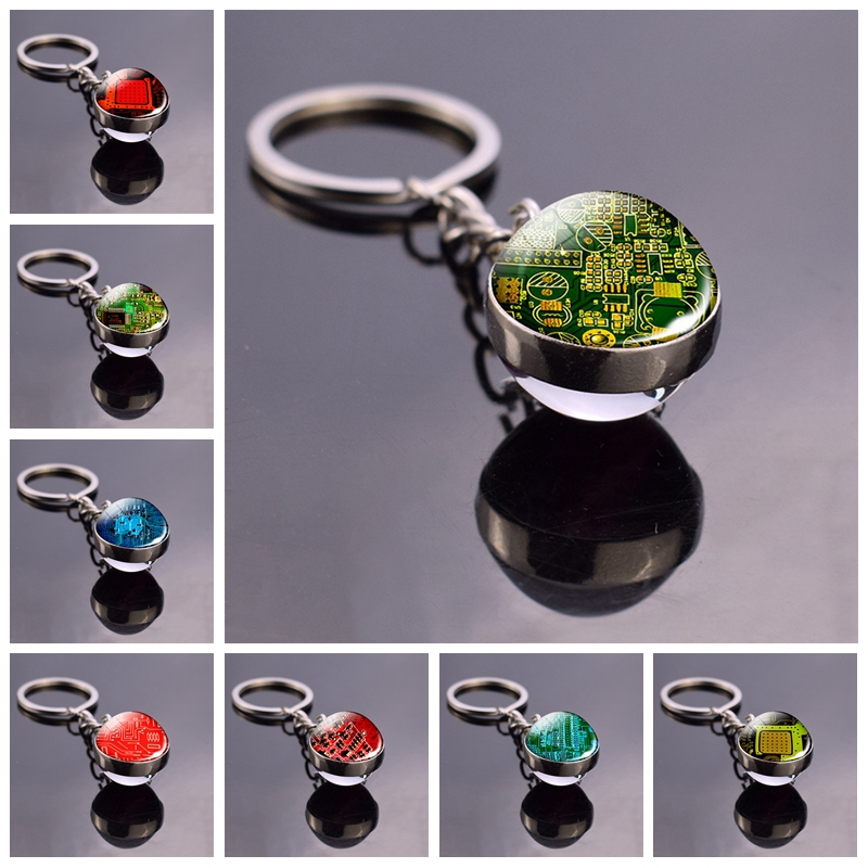 Circuit Board Picture Glass Ball Keychain Computer Geek Pendant Key Chain Metal Key Ring Nerd Geek Gift