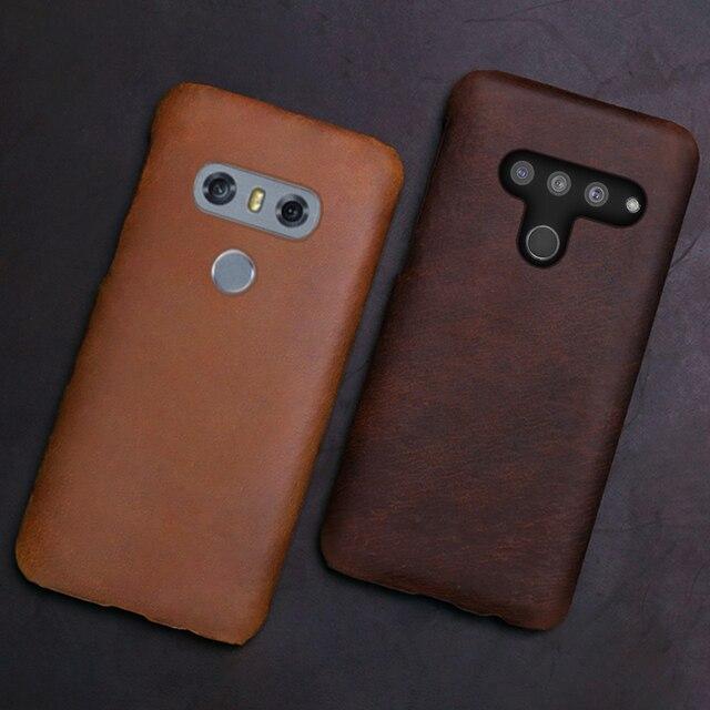 Genuine Leather Phone Case For LG G8s V50 V10 V20 V30 V30S V40 G3 G4 G5 G6 G7 G8 G8X Q6 Q7 Q8 ThinQ K40 Crazy Horse Skin Cover
