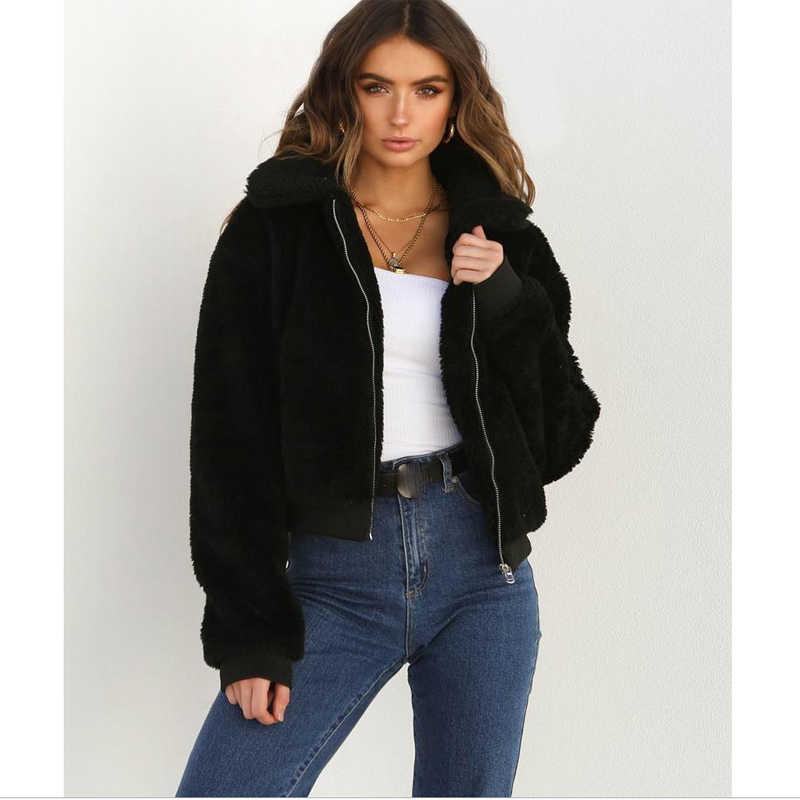 女性厚く暖かいテディベアポケットフリースジャケットコートジップアップ生き抜くオーバーコートの冬ソフト毛皮ジャケット女性の豪華なコートエレガントな