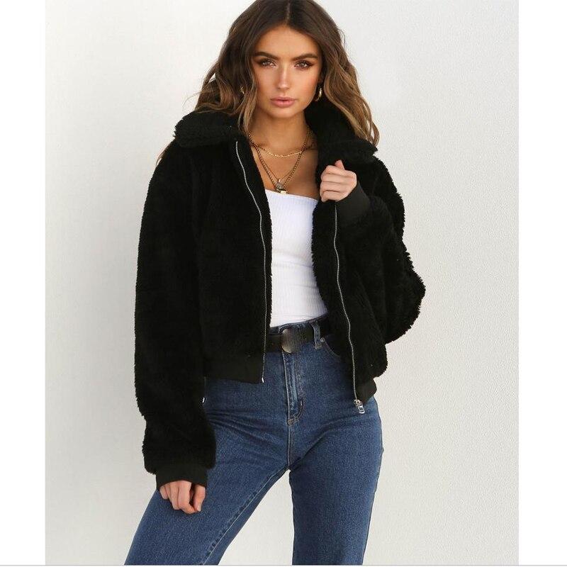 Women Warm Fluffy Teddy Bear Pocket Fleece Fur Jacket Coat Hooded Zip Up Outwear