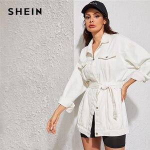 Image 5 - SHEIN blanco lavado con cinturón chaqueta de mezclilla abrigo mujer otoño primavera Turn down Collar sólido abotonado Casual chaquetas Outwear