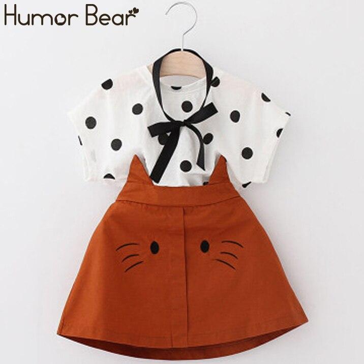 Humor Bear Girls Clothes 2020 Summer Toddler Girl Sets Kid Clothes Dot Short Sleeve Top+Cartoon Cat Skirt 2PCS Set Girls Dress