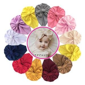 Bebê menina gorro boné cor sólida cabelo turbante bonito bowknot bebê menina chapéu outono inverno recém-nascido da criança gorro