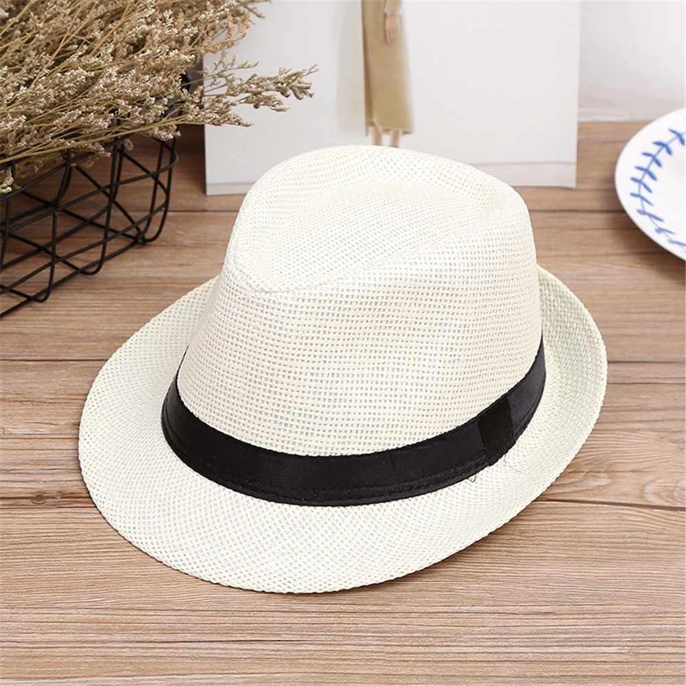 Enfants enfants Sunhat été plage chapeau de paille Jazz Panama Trilby Fedora chapeau Gangster casquette en plein air chapeaux filles garçons Sunhat casquette décontractée