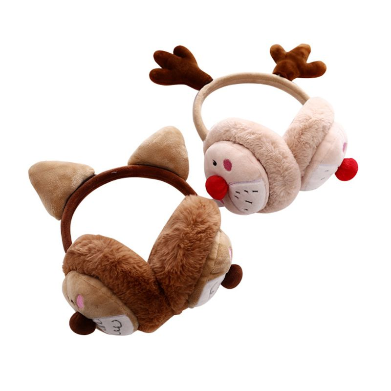 Womena Winter Christmas Plush Earmuffs Cartoon Reindeer Antler Party Ear Warmer