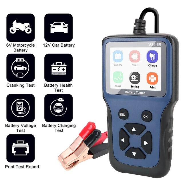 Carga de coche Analizador de prueba de carga para coche, herramienta de diagnóstico automotriz de 12V, cargador de batería, analizador, V311B