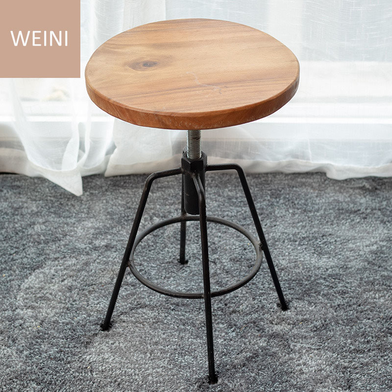 Modern Minimalist Retro Iron Footstool Personality Solid Wood Surface Bar House Creative High Chair Coffee Industry Style Bar So