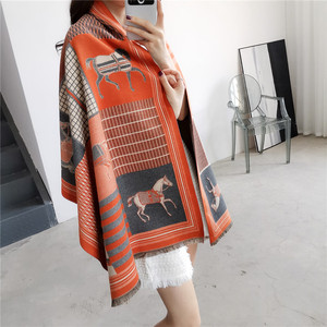 Image 2 - 2019 Fashion Pashmina Scarf for Women Animal Print Winter Cashmere Scarfs Female 185*65cm Shawls and Wraps Neck Scarves For Lady