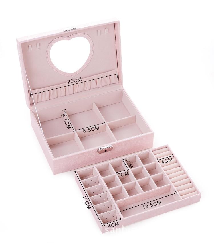 Коробка для ювелирных изделий из искусственной кожи, Двойной Деревянный органайзер для макияжа принцессы, многофункциональный несессер, п