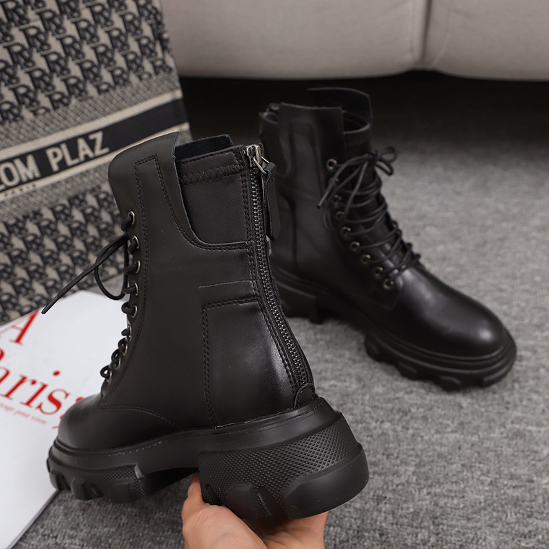 2020 Autumn Women Combat Boots Fashion Platform Gothic Shoes Black Leather Motorcycle Boots Women Lace Up Ankle Boots