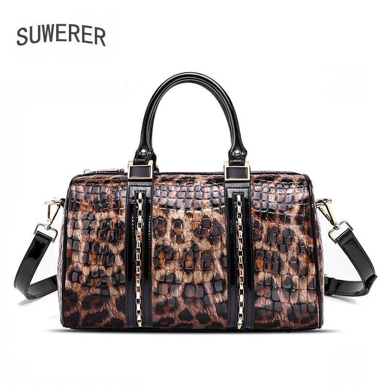 SUWERER 2020 New Women Genuine Leather bag fashion Leopard bag real cowhide bag Luxury women leather shoulder bag
