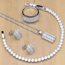 Natural Silver Color Bridal Jewelry Sets White Zircon Crystal For Women  Earrings Pendant Rings Bracelet Necklace Kits elegant crystal zircon pendant necklace silver white red