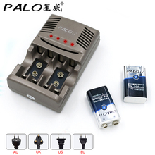 PALO 2pcs 9V  6F22 Ni-MH 9v Rechargeable Battery+Smart Charger LED for 1.2V AA AAA nimh nicd battery rechargeable