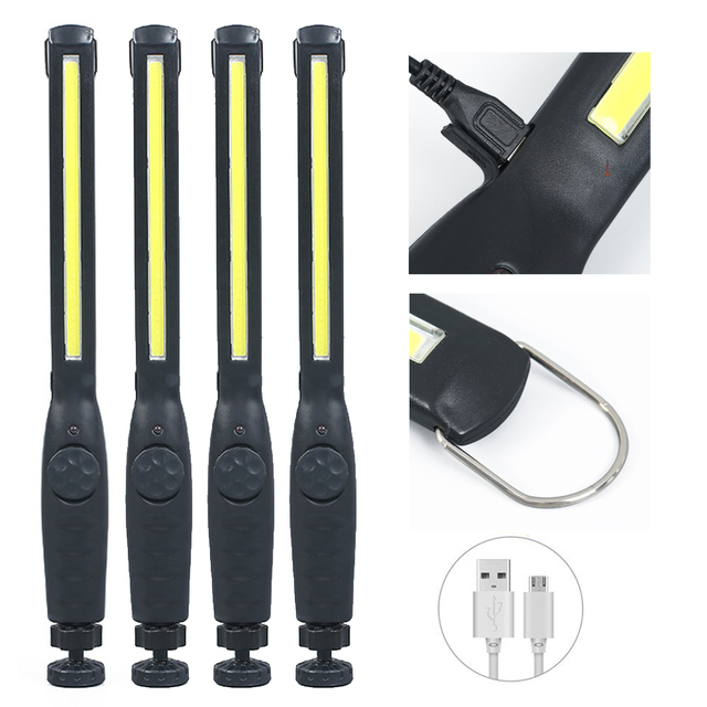 4X 2X COB LED Work Light Pocket Flashlight 1200mAh 2200mAh Rechargeable Emergency Torch 360° Inspection Light Camping Lamp