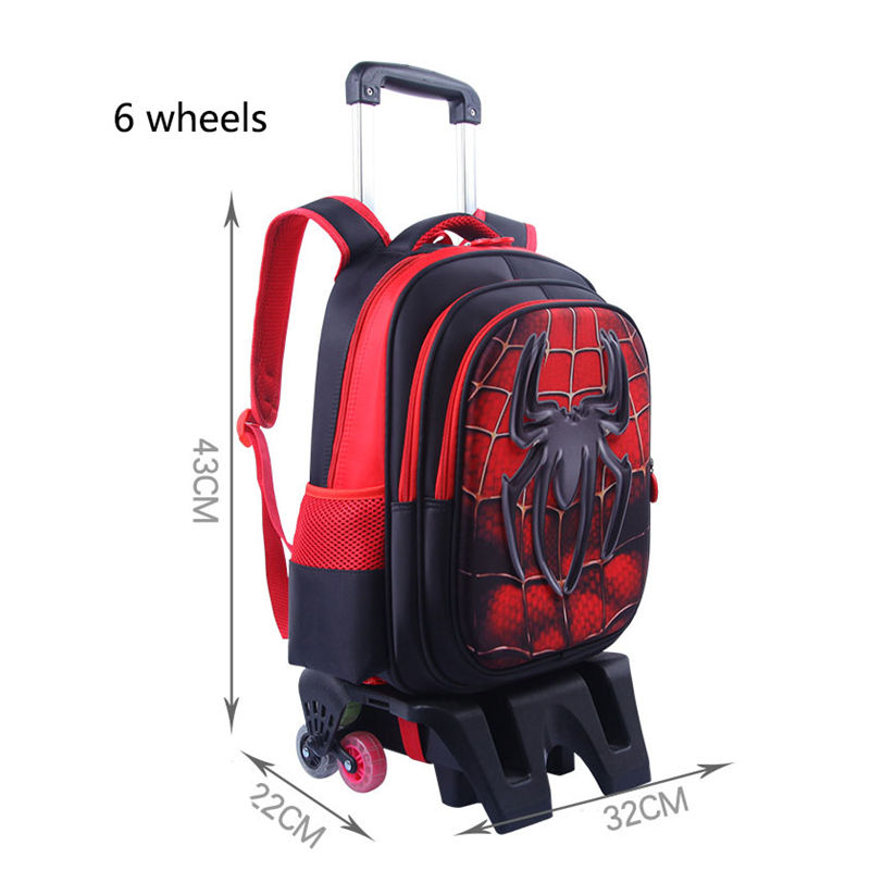 3D Spiderman Children's Travel Luggage Backpack On Wheels Boy's Trolley Backpack With Wheel For School Kids School Rolling Bag